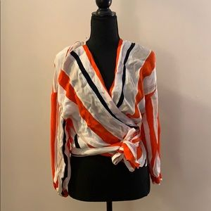 Striped Wrap Blouse - Never Worn!